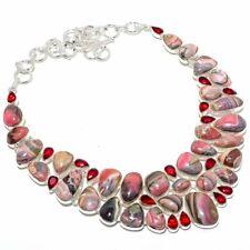 "Rhodochrosite, Garnet Gemstone Handmade 925 Sterling Silver Necklace 18"""
