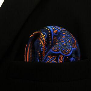 QH8 Paisley Orange Blue Handkerchief Pocket Square For Men Hanky Silk Classic
