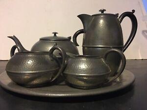 Vintage Art Deco Pewter tea set & Tray 1920s.bakelite handle Sheffield England