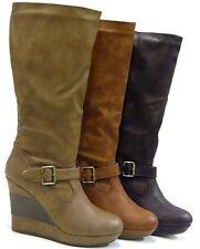 Kniehohe Stiefel Damenschuhe mit Keilabsatz/Wedge und hohem Absatz (5-8 cm)