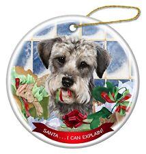 Schnoodle Dog Porcelain Hanging Ornament Pet Gift 'Santa. I Can Explain!'