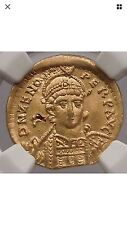 Zeno 476AD Authentic Roman NGC certified Ch XF Gold Solidus coin