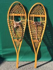 VERY NICE Vintage SNOWSHOES 42x12 LEATHER BINDINGS Snow Shoes L@@K