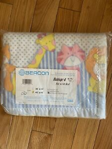 "New Vintage Beacon Crib Blanket Acrylic Poly 40""X45"" Animals Nylon Trim"