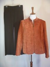 Dressbarn Womens 2 piece Pant Suit Rust / Brown Velvety size L 12 / The Limited