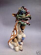 """8.8"""" Chinese Archaize Art Collection Glaze Porcelain Ceramic Lion Dance Statue"""