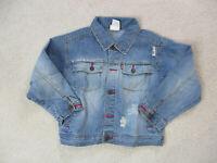 VINTAGE Levis Jean Jacket Girls Small Blue Denim Rancher Coat Youth Kids 90s *