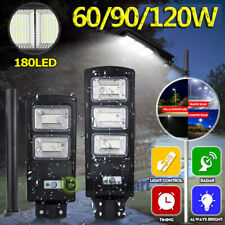 Wireless 60/90W Solar Led Street Light Radar Pir Motion Sensor Wall Lamp +Pole
