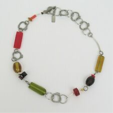 Anne Marie Chagnon necklace pewter glass bead modernist red amber