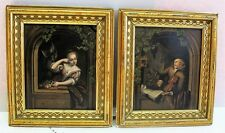 Fine Pair of 19th C. GERMAN OIL on Copper PAINTING Musician & Maiden (two works)