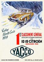 Vintage 1959 Monte Carlo Rallye Poster Citroën DS 19 Motor Sport Retro Print