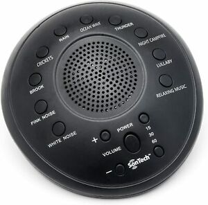 SonTech - White Noise Sound Machine - 10 Natural Soothing Sound Tracks Black