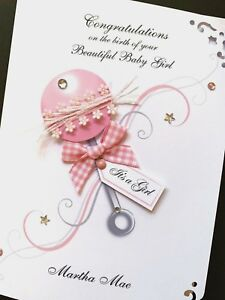 Personalised Hand-made 'Baby Girl Rattle' Birth Card (5x7 card)