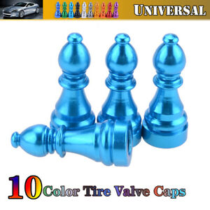 4X Car Tire Tyre Nave Blue Wheel Air Dust Cover Trim Valve Stem Caps Alloy