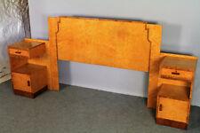 Art Deco Headboard with pair bedside cupboards