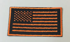 Custom  Biker Vest Patch US Flag ORANGE on BLACK (Iron/Sew on)