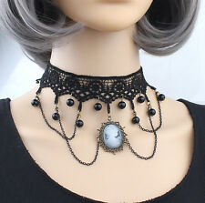 Crystal decorated black lace choker with bronze chain,sexy lace choker