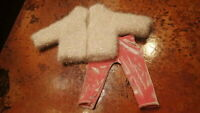 Pleasant Company American Girl Doll Outfit Cream Sparkly Top & Pink Velvet Pant