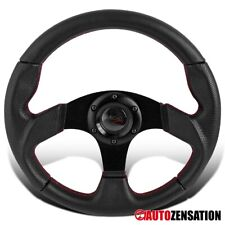 320mm Racing Steering Wheel 6 Hole Lug Bolt Black Leather Red Stitches