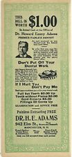 1920s MANCHESTER, NEW HAMPSHIRE ADVERTISING NOTE ~  DR. ADAMS ~ PAINLESS DENTIST