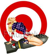 Sexy Pinup Girl Decal Waterslide Sticker American Flag Bomber Art Bullseye S1033