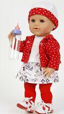 Schildkröt Puppenkleidung für 40 cm Puppen, 5-teiliges Set mit roter Strumpfhose