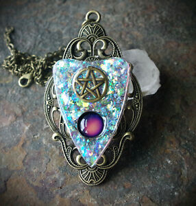 Faux White Opal Ouija Board Planchette Pentacle Mood Necklace Goth/Occult/Witch