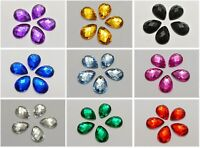 200 Acrylic Flatback TearDrop Rhinestone Gems 10X14mm No Hole Pick Your Color