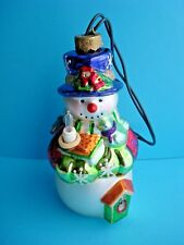 Lighted Hand Painted Glass Snowman Ornament plugs into mini Xmas lights