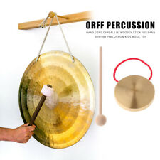 More details for 21cm hand gong copper cymbals with wooden stick chapel opera percussion kids toy