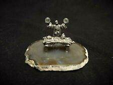Fantasy Pewter Wizard W/Glass Orbs & Table On A Slice Of Brown Rock