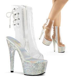 "Sexy Stripper 7"" Heel Clear Ankle High Boots w/ Rhinestone Encrusted Platform"