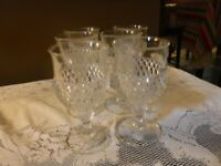 """SET OF 6 Indiana Glass DIAMOND POINT CLEAR 6-1/2"""" Water Goblets;"""
