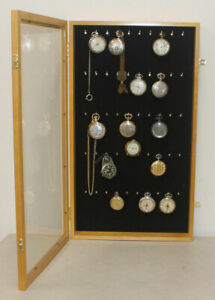Display Case Wall Cabinet for Pocket Watches Collection Display Storage, w/door
