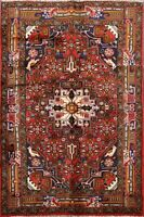 Geometric Hamedan Animal Design Area Rug RED Hand-Knotted Oriental Carpet 3'x5'