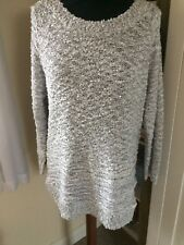 Bm Collection Silver Sequin Soft Feel Jumper Top Sz 12