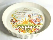 """POOLE POTTERY RARE SAMPLER SERIES FLAN DISH 9.5"""" INCH """"TODAY IS THE TOMORROW"""""""