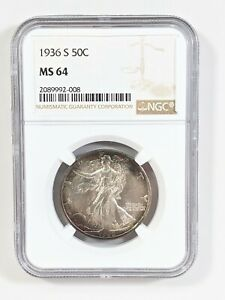1936 S NGC MS64 Walking Liberty Half Dollar Rainbow TONED 🌈