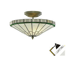 Classic Tiffany Glass Lamp Ceiling Light in Brass LED Compatible New Light