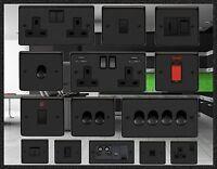 QUALITY MATT BLACK  USB PLUG SOCKETS STANDARD OR LED DIMMER LIGHT SWITCHES