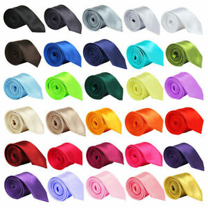 """NEW SKINNY MEN WEDDING SOLID PLAIN NECK TIE COLOR Classic (57"""" - 60""""), Polyester"""