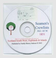 Genealogy, SEAMEN - SCOTLAND SW etc 1851 & Series Index