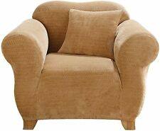 Stretch Royal Diamond Two Piece Chair Slipcover Form Fit Box Cushion Gold
