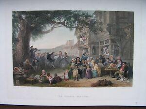 DORFFEST  Village Festival  Musik Tanz Stahlstich   1860 koloriert