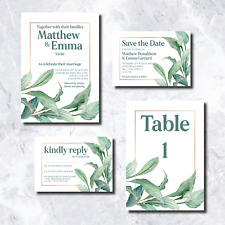 Wedding Invitations: Green Foliage Style - Personalised