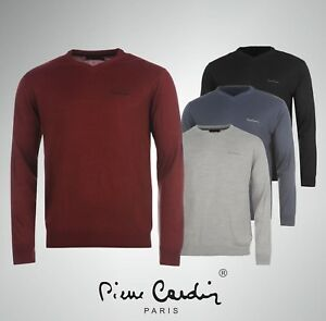 Mens Pierre Cardin V Neck Knitted Jumper Top Sizes S M L XL 2XL 3XL 4XL