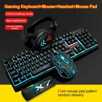 3Pcs Wired LED Gaming Mechanical Keyboard +Mouse + Headset + Mousepad Set For PC