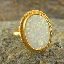 Handmade Hammered Oval Opal Ring 24K Gold Over 925K Sterling Silver