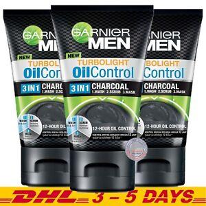 Garnier Men TurboLight Oil Control 3 in 1 Intensive Charcoal Foam 100 ml x 3