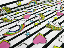 Stoff Baumwolle Jersey Einhorn Sterne Rainbow Herzen gestreift weiß Kinderstoff